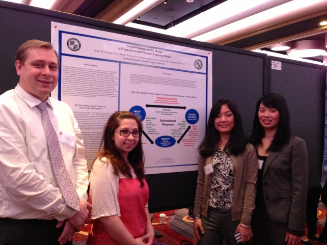 Poster Presentation @ the Eastern Psychological Association {March, 2013}{Dr. V's Research Team (left to right): Jenn Angelone, Suyi Liu, & Debbie Truong}